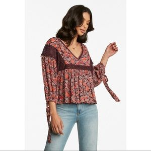 Patrons Of Peace Fall Calling Blouse Floral V-Neck
